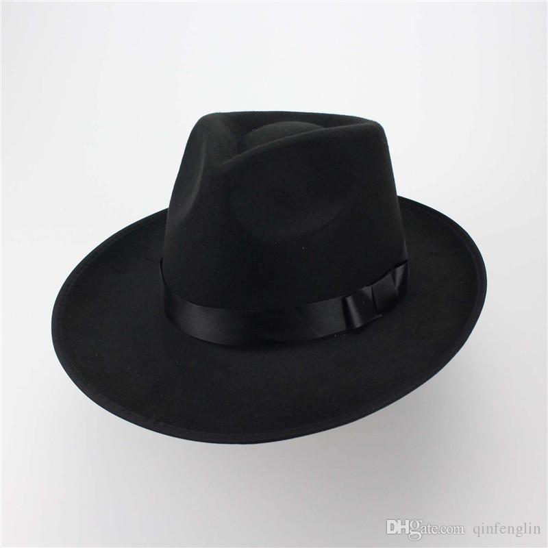 Bruno Mars Wool Floppy Hats With Studs Big Brim For Women and Man Foldable Wide Brim Felt Bowler Fedora Caps Western cowboy hat