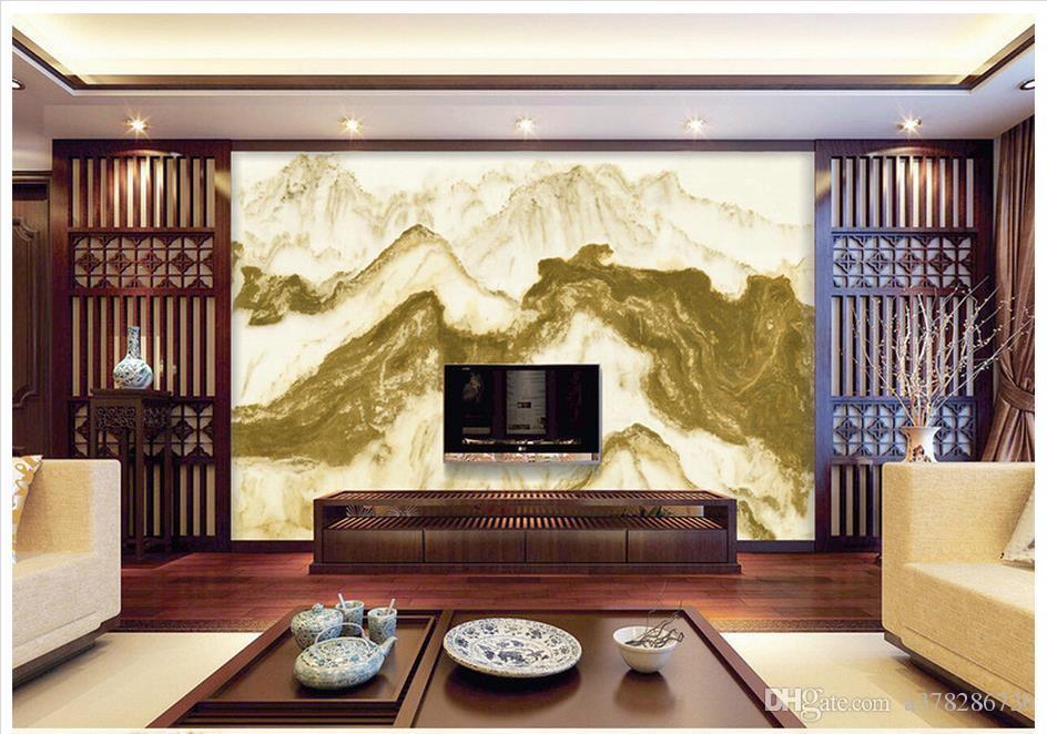 Alta calidad personalizada 3d papel pintado de la foto murales de papel de pared El fondo de paisaje chino mármol rizhao tv decoración de la pared papel pintado de la habitación