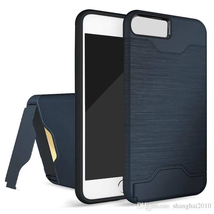 Étui fente pour carte pour iPhone 7 S8 Armor coque arrière coque rigide avec étui kickstand pour iphone 6 6 plus 7 plus samsung s8 plus