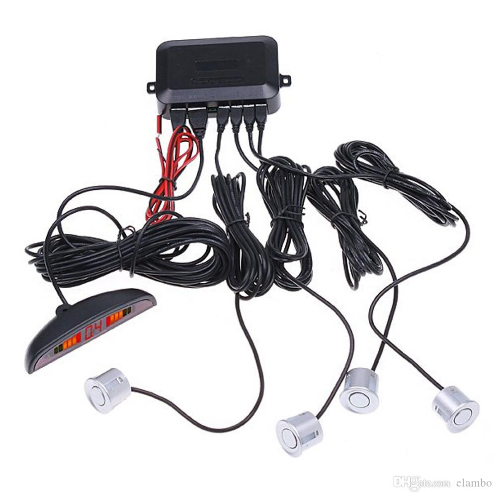 Car Parking Sensor Kit No Hole Saw Buzzer / LED / LCD Display Backup Radar Monitor System 12V 4 Sensors 22mm