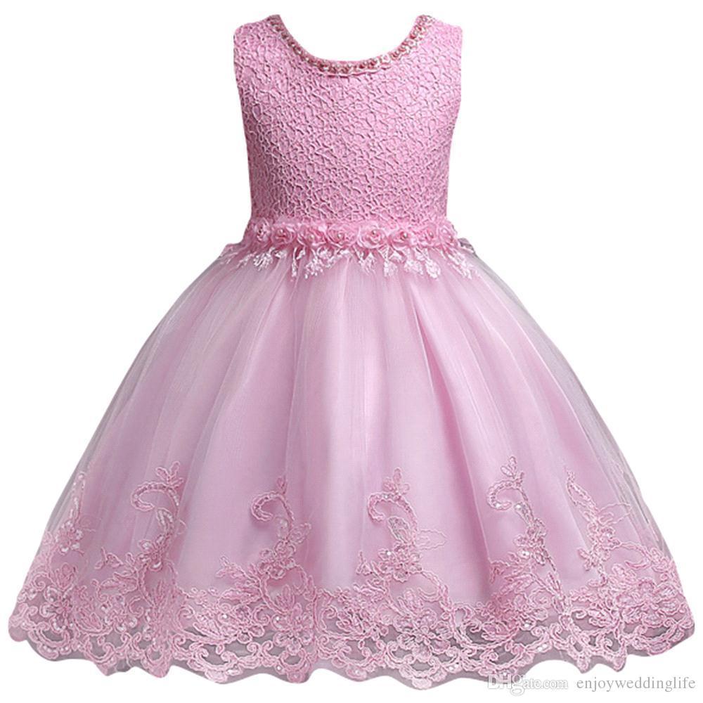 2018 Yeni Sevimli Beyaz Pembe Küçük Çocuklar Bebekler Çiçek Kız Elbise prenses Jewel Boyun Kısa Örgün Düğünler için Ilk Cemaat MC0817 ...