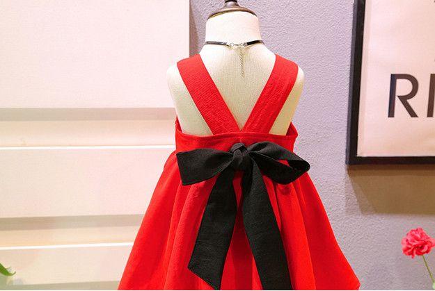 uutrade 2017 big red Summer Baby Girl Toddler butterfly knot Dress Infant Princess party vest Dress Children's Dresses kids Clothing