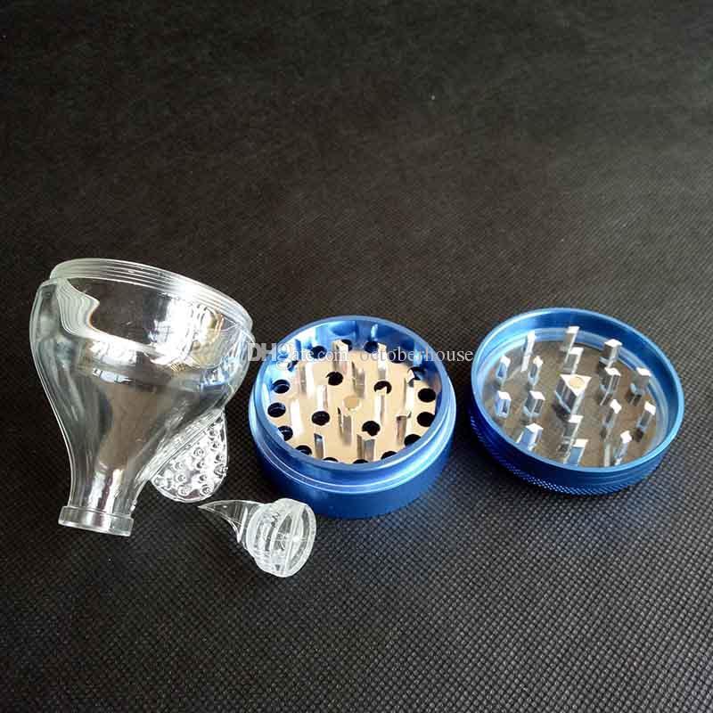 Embudo de aluminio del metal amoladoras 4 Piezas es hierba del tabaco de la especia de la trituradora de la mano de la galleta Muller molinillo de hierbas Herramientas fumadores