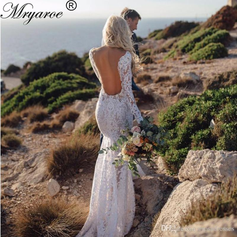 23c624d469 2017 New Sexy V Neck Lace Long Sleeve Mermaid Wedding Dresses 2017 Open  Back vestido de noiva renda manga longa abiti da sposa