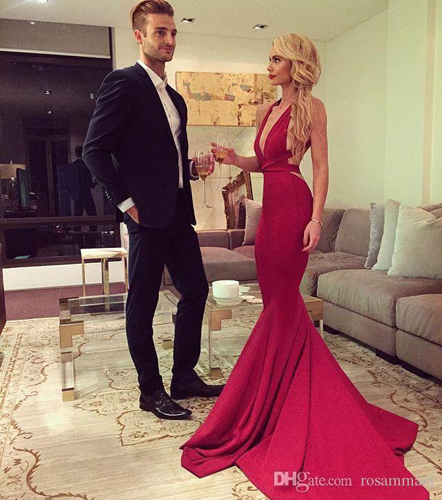 Il vestito su ordinazione promenade della sirena Charming Dress Halter sera collo di V Prom Dress Nuovo arrivo