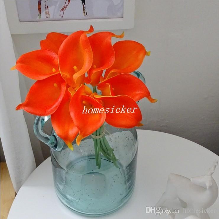Sposa fiori Spedizione Gratuita PU Real Touch Giallo Mini Calla Lily Bouquet Da Sposa