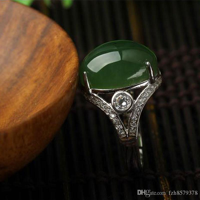 New China traditional spinach green Hetian jade Ring Jadeite Ring mobilizable jasper Sterling silver jade Ring for women HTY-15121605