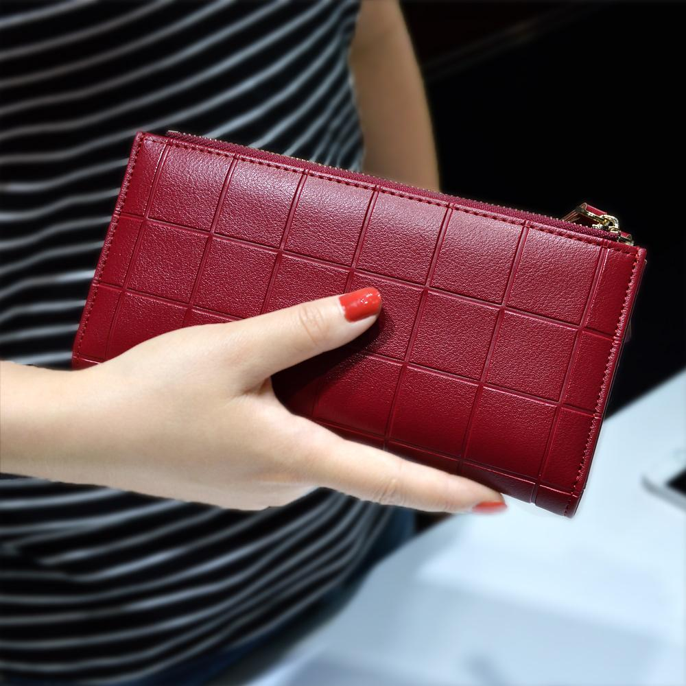 8b83bc04b Women Leather Purse Plaid Wallets Long Ladies Colorful Walet Red Clutch 10 Card  Holder Coin Bag Female Double Zipper Wallet Girl Lost Wallet Cheap Wallets  ...