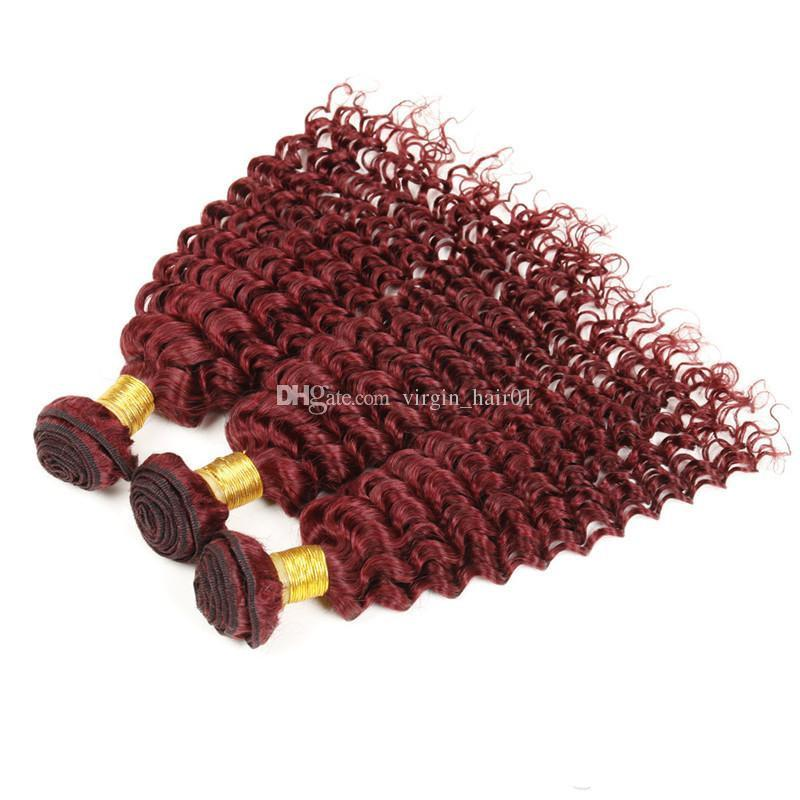 #99j Burgundy Deep Curly With Closure 9a Brazilian Virgin Hair Extensions Brazilian Weave Bundles Wine Red Deep Curly Hair Wave Human Hair