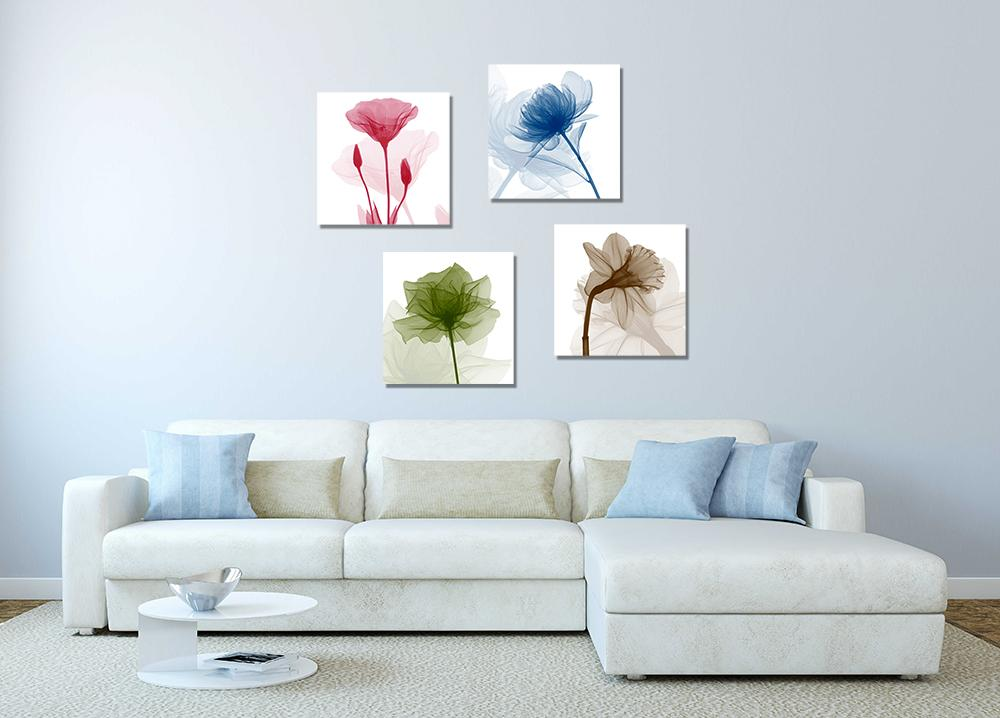 2019 4 Panels Flower Abstract Canvas Painting Home Decor Canvas Wall