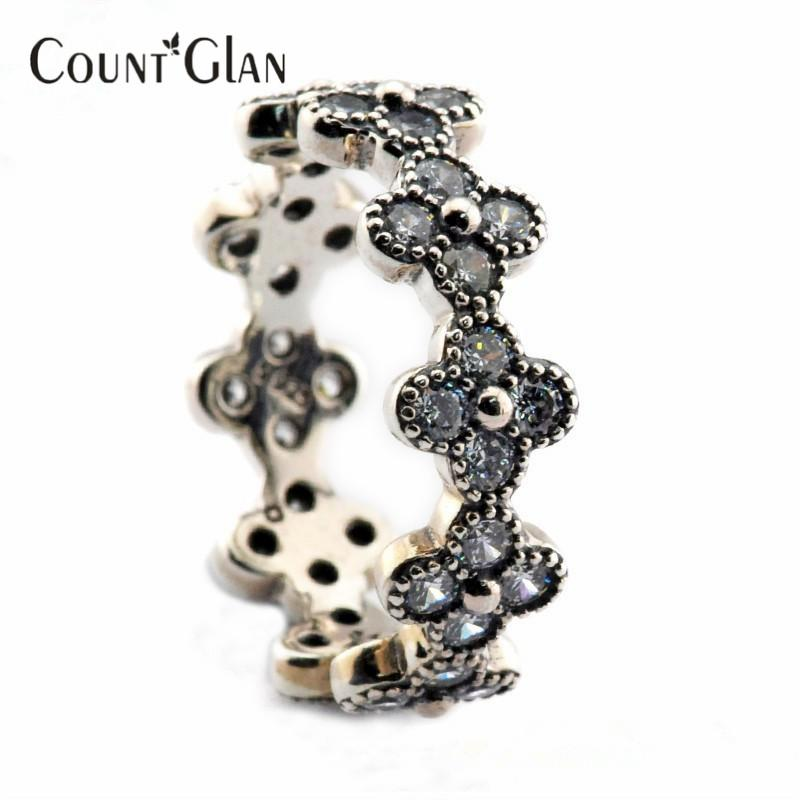 2016 Summer Style Oriental Blossom Silver Anillos con Clear CZ Original 100% 925 Sterling Silver Jewelry DIY Wholesale