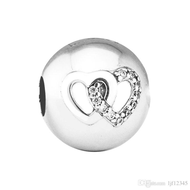 Pandulaso Heart Bond Charm Heart Clip Fits Pandora charms Bracelets Woman DIY Beads for jewelry making Authentic 925 Sterling silver