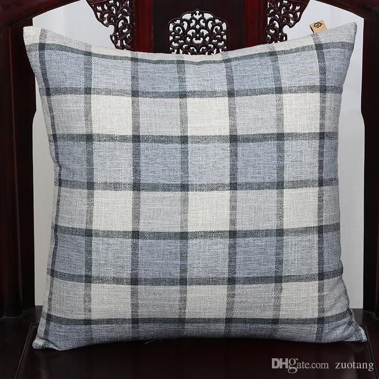 High Quality Classic Grid Cushion Cover Sofa Seat Chair Lumbar Pillow Modern Simple Natural Cotton Linen Cloth Back Cushion Case