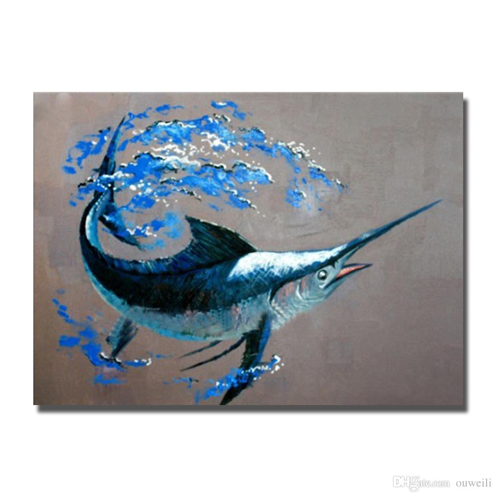Free design decorative beautiful modern canvas art work pictures sea fish acrylic oil painting bedroom canvas art