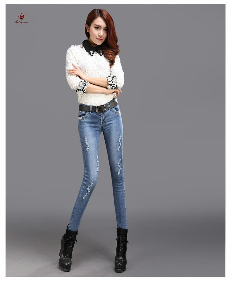 Factory direct 2017 New Design New Women pants Skinny jeans wholesale price ripped jeans women latest designs