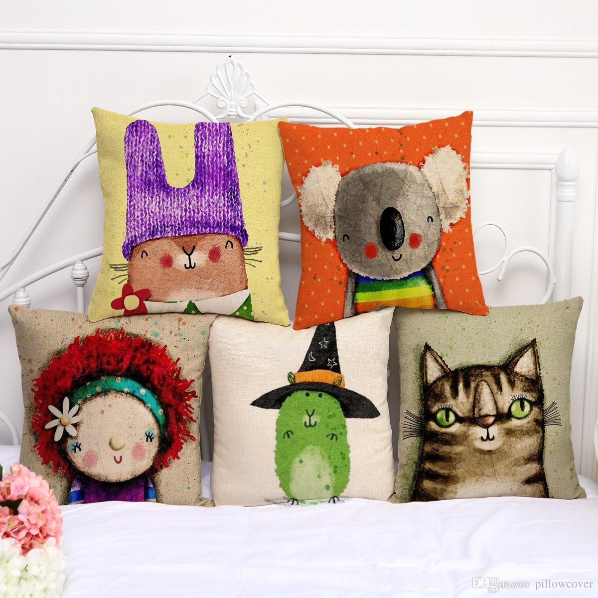 Carton Animal Bear Mama Dog Cat Bees Pillow Case Cushion Cover Linen Cotton Throw Pillowcases Sofa Car Decorative Pillowcover dropship PW574