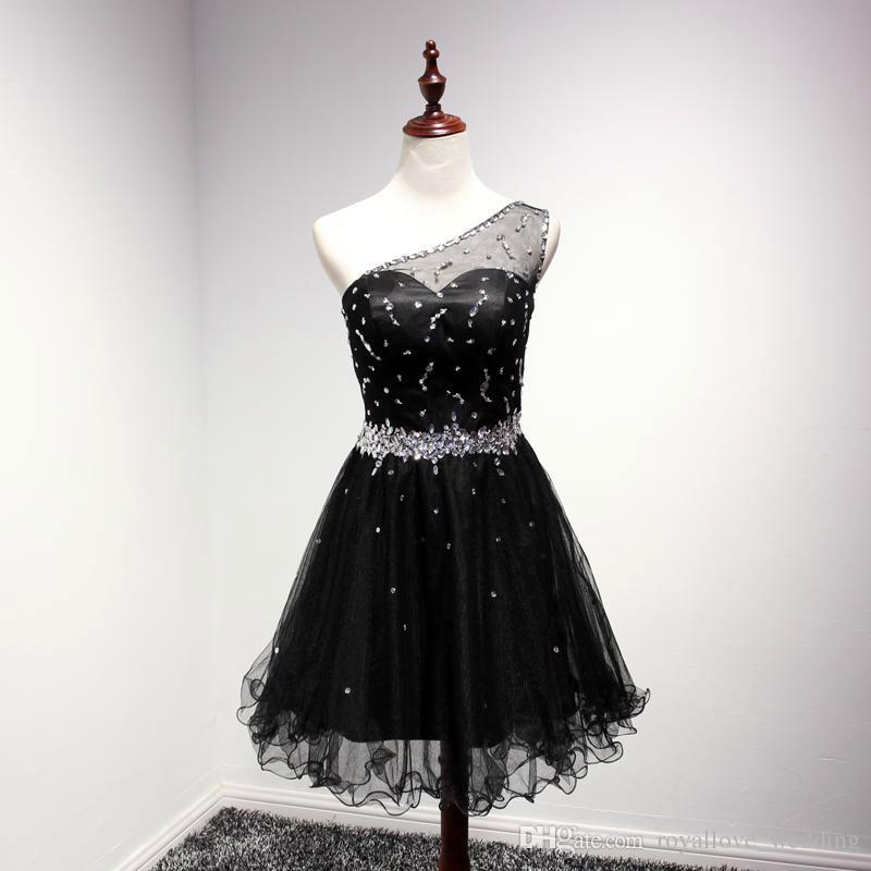 2017 Beaded Black Short Semi Formal Dance Dress For Teens One