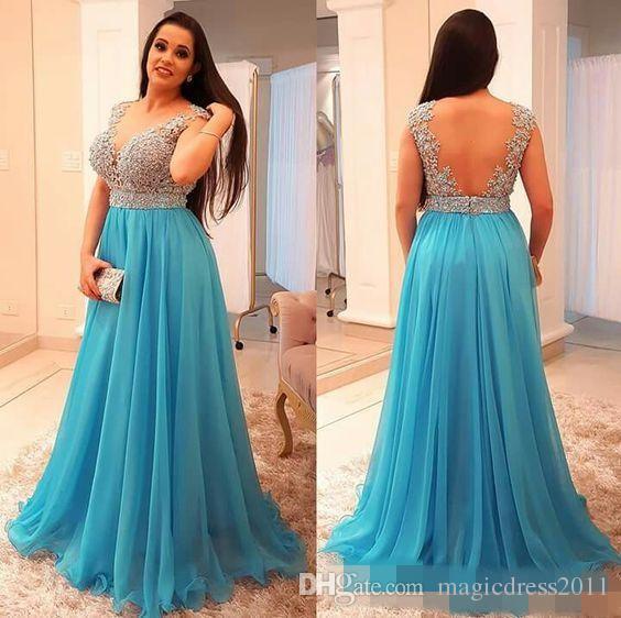 Atemberaubende Perlen Chiffon Plus Size Prom Kleider tiefem V-Ausschnitt rückenfreies Abendkleid bodenlangen Plissee lange formelle Gast Kleid