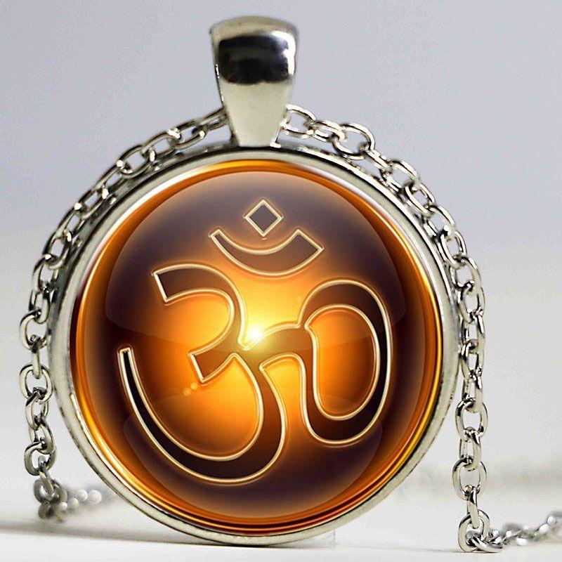 Wholesale Vintage Pattern Om Symbol Necklace Hindu Yoga Jewelry