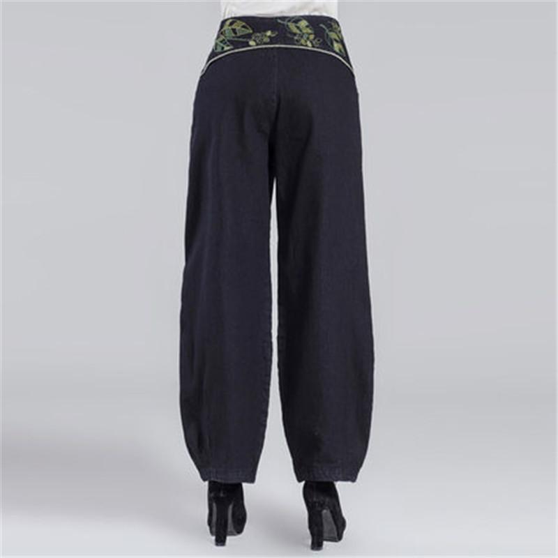 Calças largas Mulheres Calça Casual Estilo Chinês Plus Size L-6XL Calças Bordados de Meia Idade das Mulheres Literatura Calças Elegantes