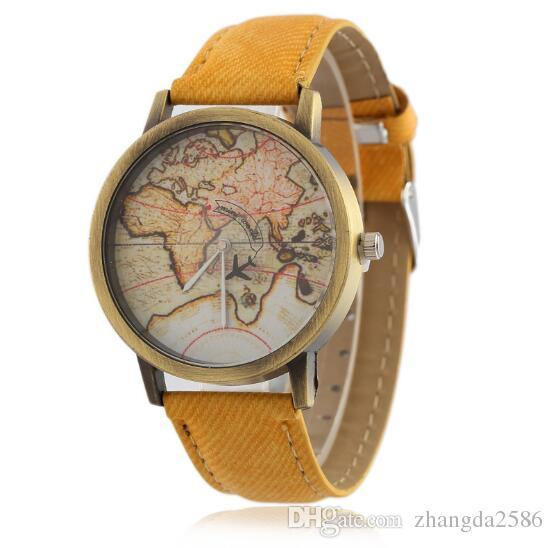World map plane pattern watches men women brand designer retro pu world map plane pattern watches men women brand designer retro pu leather strap no second hand quartz movement casual watch 0911 wholesale online watch gumiabroncs Choice Image