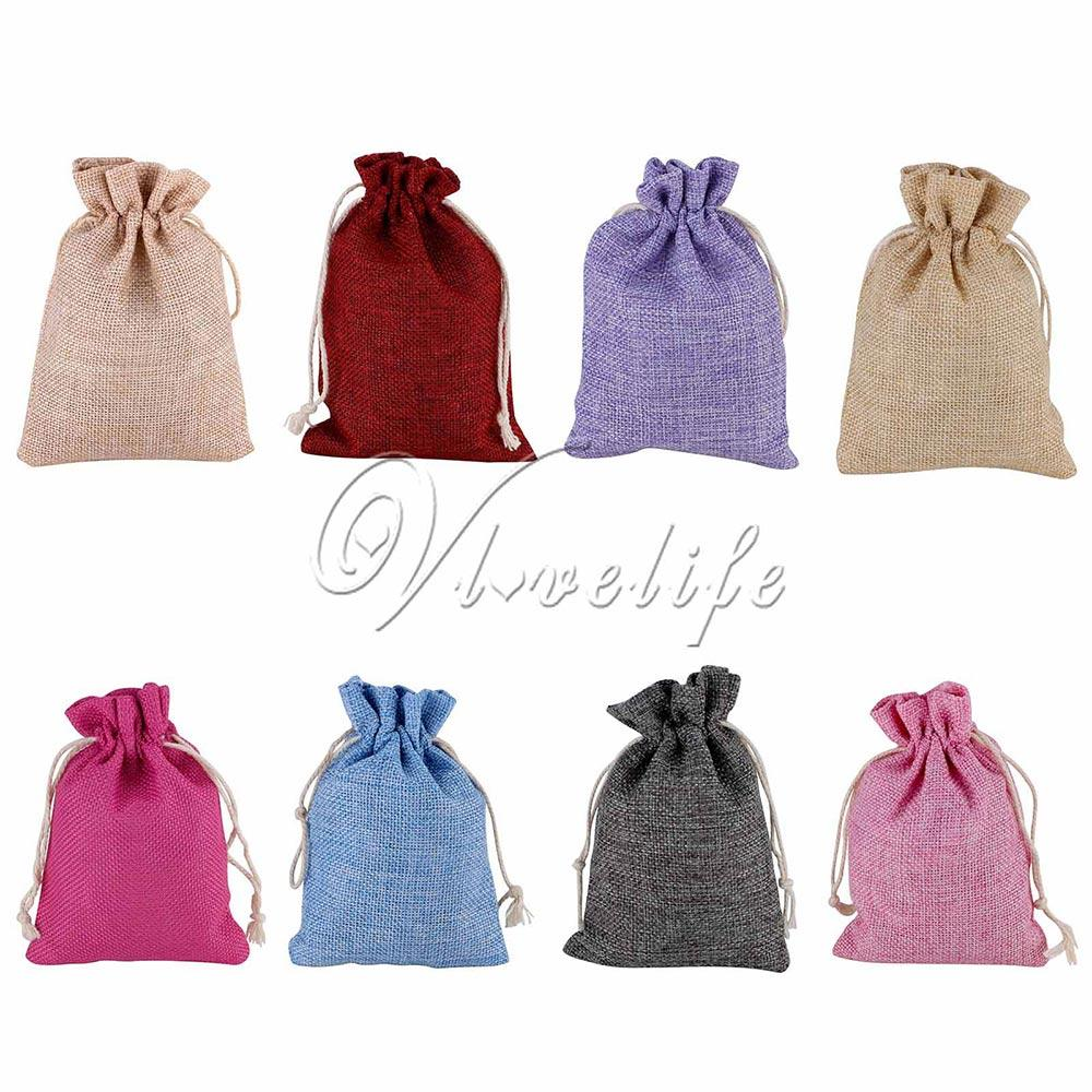 2018 Vintage Natural Burlap Hessia Gift Candy Bags Wedding Party ...