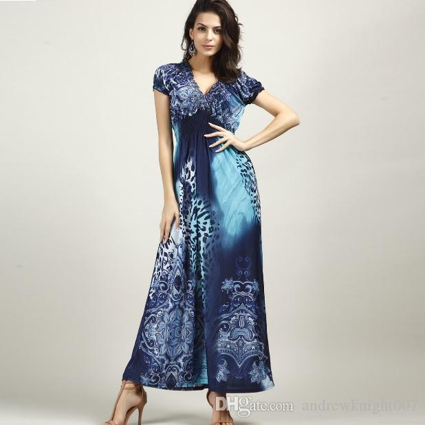 136a32cd6a Boho Womens Plus Size Leopard Print V Neck Beach Summer Maxi Dress DK3032CS  Black Dresses For Women Halter Dresses From Andrewknight007