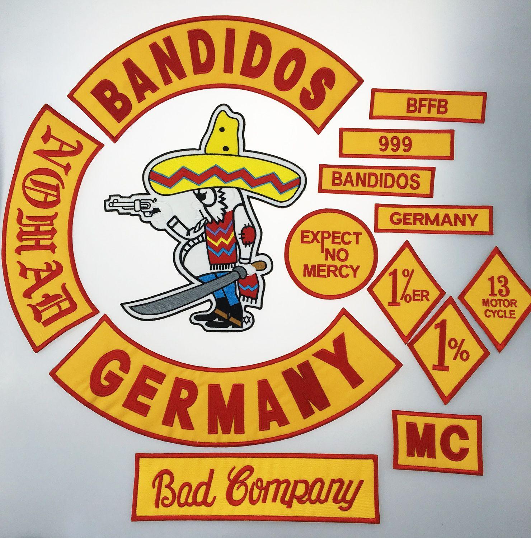 Sıcak Satış Karışık 14 adet Bandidos MC Için Tam Set Işlemeli Yama Demir Ceket Deri Yelek Rider Punk Tam Geri Boyutu Yama