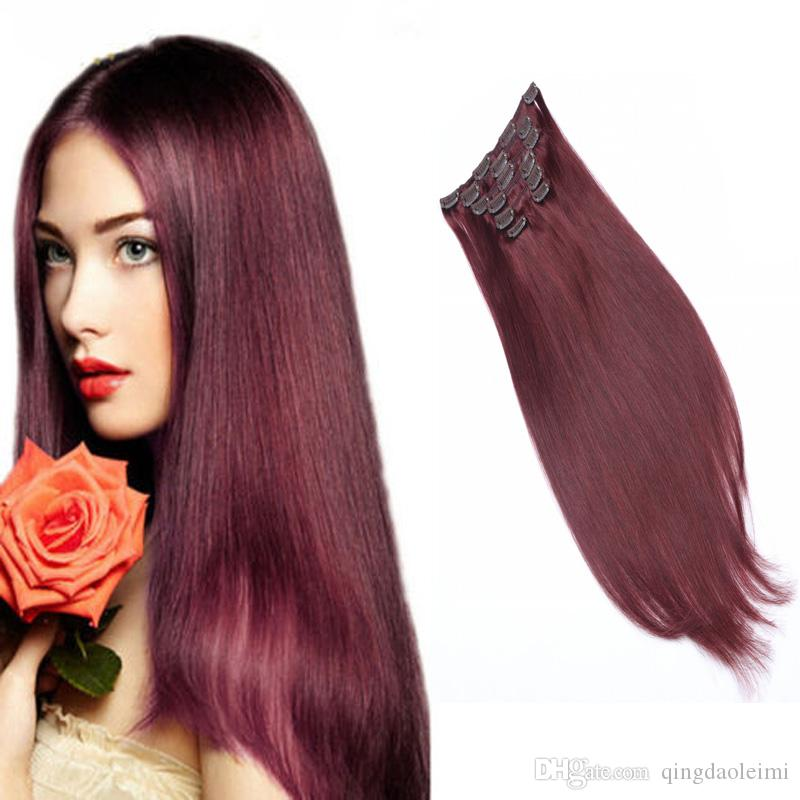 Fashion Colorful Hair Straight Long Clip In Hair Extensions