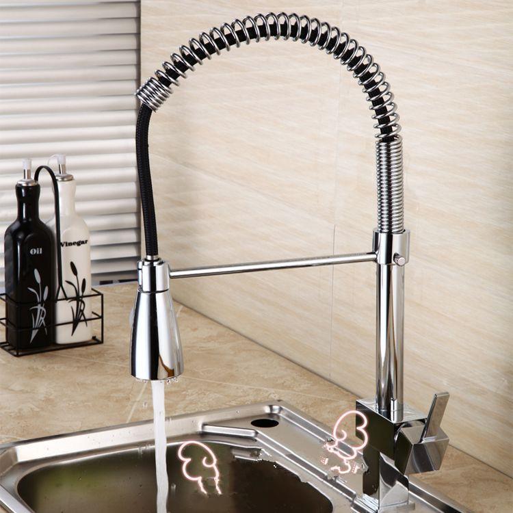 Kitchen Mixer Faucet Deck Mount Dual Sprayer Kitchen Faucet Tap ...