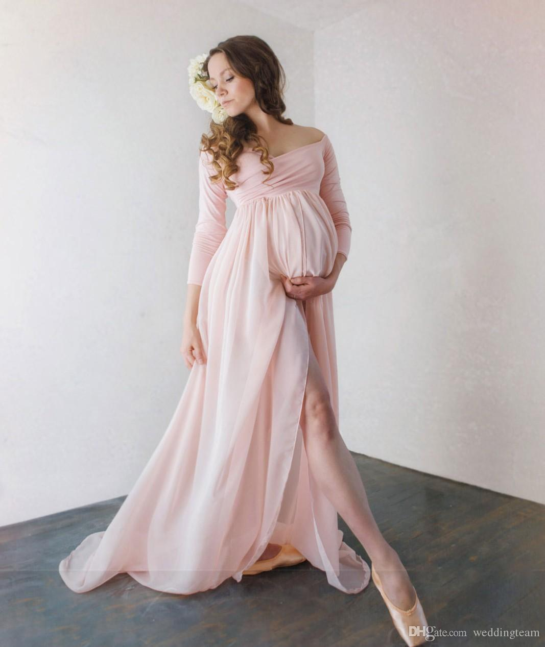 Attractive chiffon maternity dresses for photo shoot with long attractive chiffon maternity dresses for photo shoot with long sleeves split front pregnant gown off the shoulder custom made maxi dress vintage plus size ombrellifo Gallery