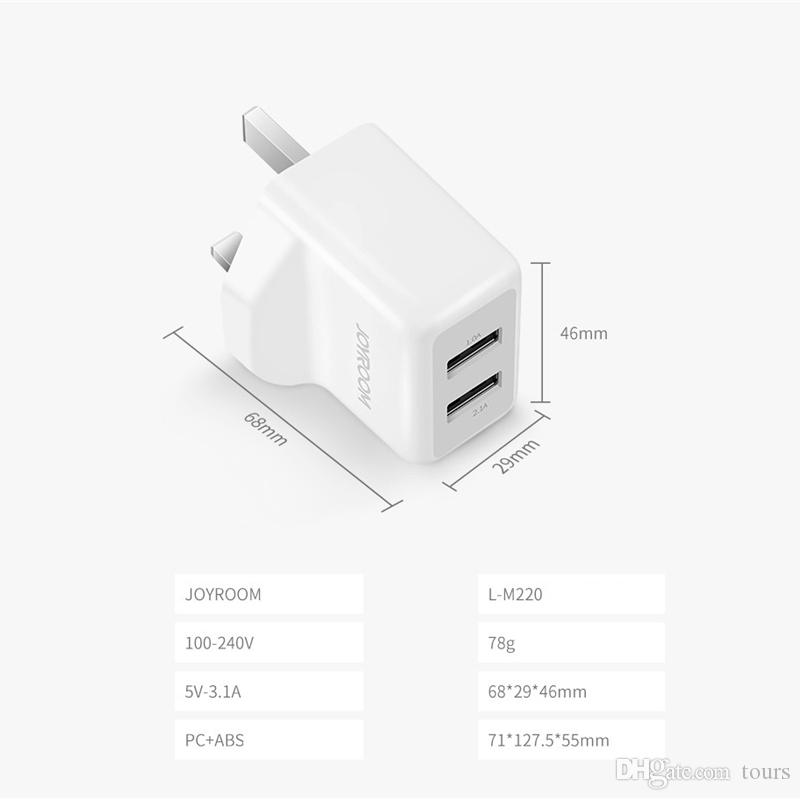 JOYROOM 3.1A USB Charger Dual USB Wall Charger Universal Portable Travel Adapter Chargers Plugs with USB cable for iPhone 8