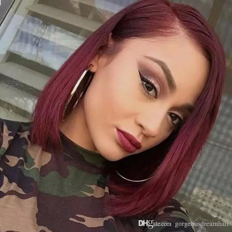 Short Bob Type 99J Burgundy Human Full Lace Wigs Silky