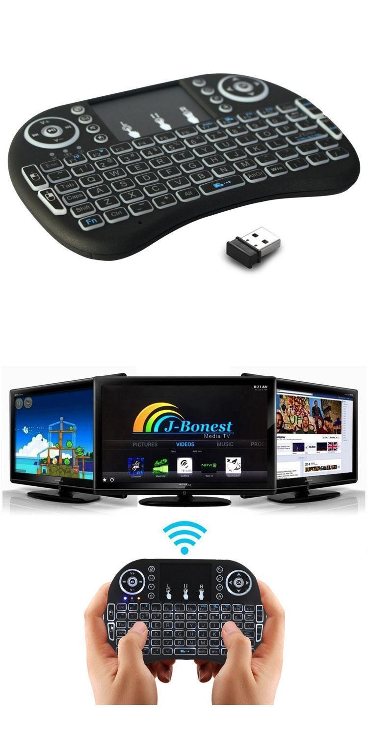 En iyi Rii I8 Akıllı Fly Air Fare Aydınlatmalı 2.4 GHz Kablosuz Bluetooth Klavye MX Pro Android TV Box Için Uzaktan Kumanda Touchpad T95
