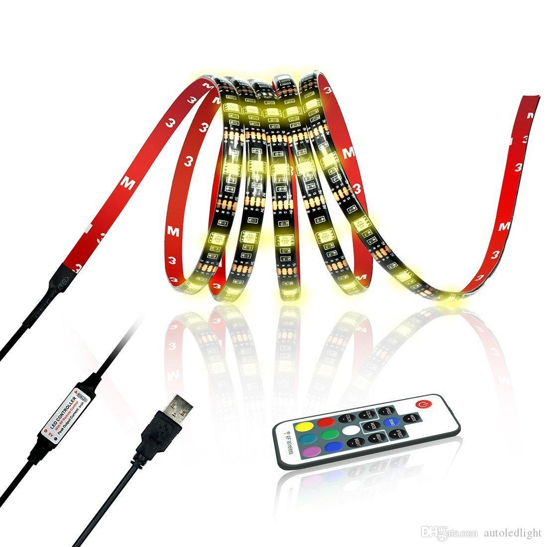 RGB LED Şerit 5050 30LED M DC 5 V USB LED Işık Şeritleri Su Geçirmez Esnek Neon Bant 1 M-5 M TV Arka Plan Için Uzaktan ekleyin