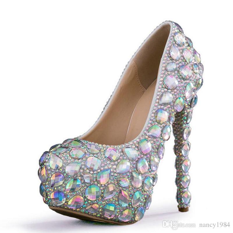 Haute Qualité Étincelant Chaussures De Mariage En Cristal AB Cristal Robe De Mariée Chaussures Cendrillon De Bal Pompes De Noce Anniversaire Chaussures