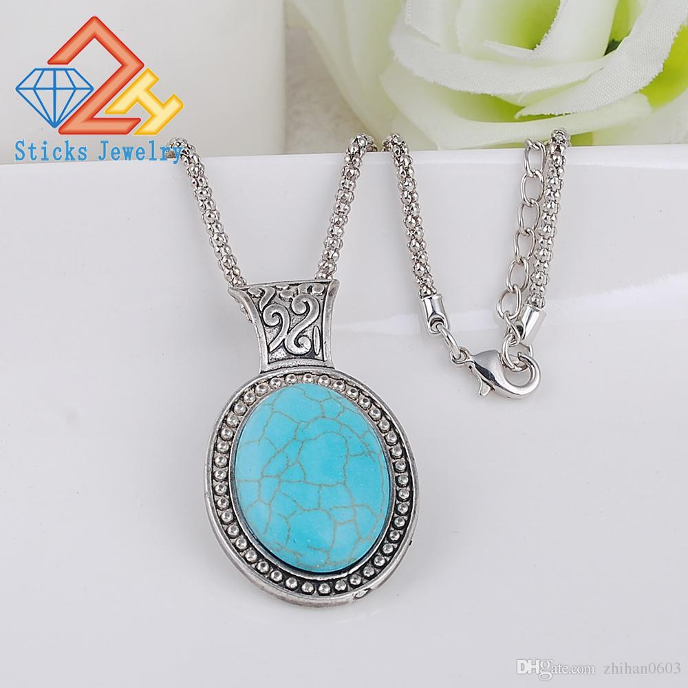 Fashion Natural Stone Turquoise Oval Shape Pendant Necklaces Blue Stone Agate Crystal Gem Stones Necklace Wholesale/retailing 1pcs/lot drop