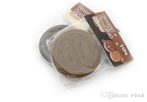 Brown Cute Cookie Shaped Design Mirror Makeup Chocolate Comb