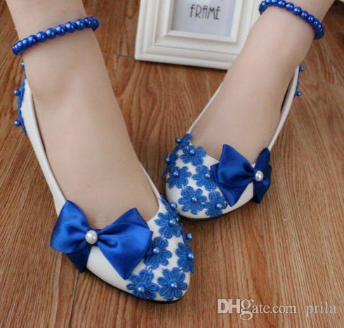 e6f301ef120 Blue Bow Pumps Shoes Woman Low Heel Handmade Lace Pearls Beading Blue Dance  Shoes DG143 Fashion Lady Coming Of Age Evening Party Blue Shoes Cheap Shoes  ...