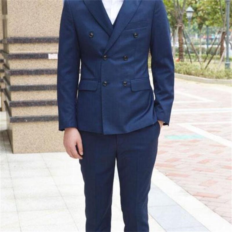 2017 2017 Three Piece Blue Men Wedding Suits Custom Made Double ...