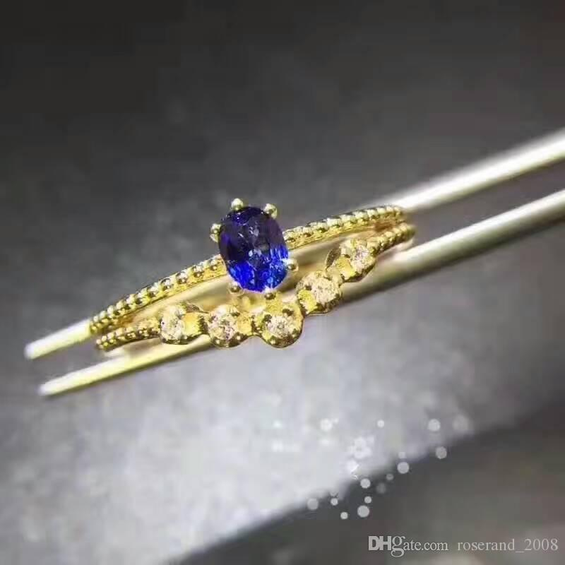 Natural Sri Lanka sapphire and 925 Sterling Silver with 18KT Gold Plated Ring Genuine Gemstone Fashion Jewelry for Women Party Wedding