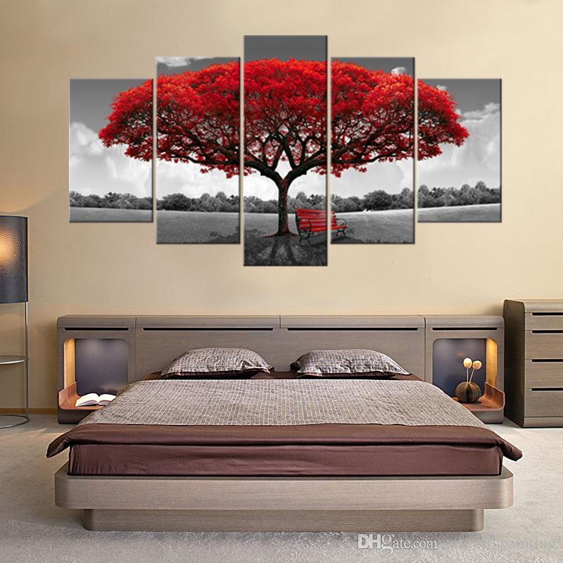 5 Paneles Lienzo del árbol rojo Flores Flores Arte de la pared Paisaje Obra de arte Impresión en lienzo Listo para Hany para el hogar Decoración de pared Enmarcado de madera