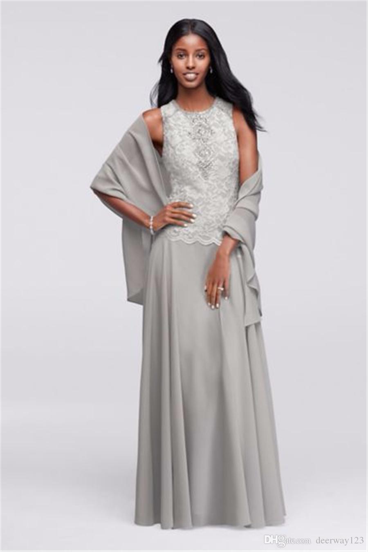 Großhandel Ärmelloses Langes Kleid Mit Koordinierendem Schal 12 Silber  Sexy Mutter Der Braut Dres Hochzeit Kleid Abendkleider Von Deerway12, Dekor