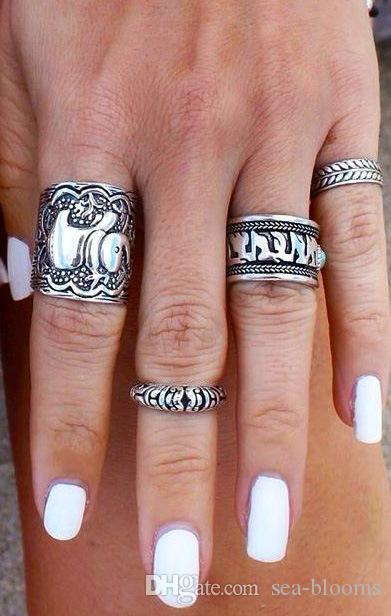 Fashion Women Silver Vintage Jewelry Punk Carve Flower Alloy Ring Set Joint Knuckle Metal Snap Charm Jewelry C48L