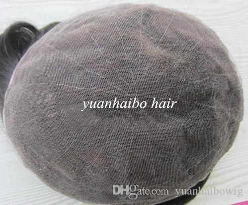 Men toupee full swiss lace 7x9 or 8x10 size in stocks natural black stock indian remy human hair toupee breathale