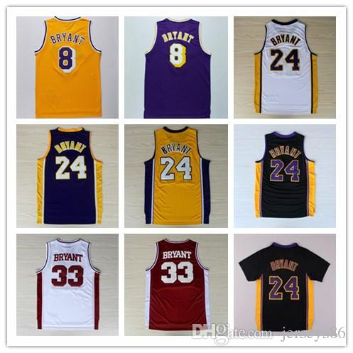 74c8aac40 ... 24 Kobe Bryant Basketball Jerseys 8 Throwback High School Shirt 33 Kobe  Bryant Throwback Uniform Yellow ...