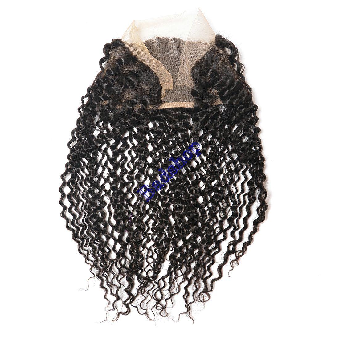 Монгольские Kinky курчавые пучки волос с кружева фронтальная закрытие бразильского Виргинские человеческих волос 3 расслоения с фронтальная закрытие 13x4 уха до уха