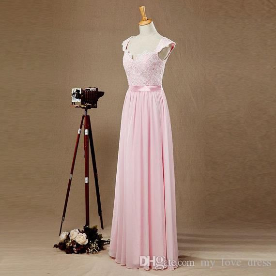 Pink Lace Top Chiffon Bridesmaid Dress Sweetheart Cap Sleeves Open Back Prom dress Sexy Princess Evening Dress Ball Gown Real Pictures