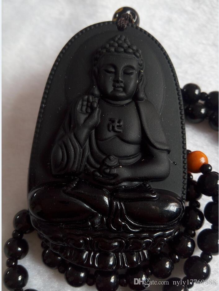 Natural Black Obsidian Carved GuanYin Buddha Lucky Pendant + Necklace C781