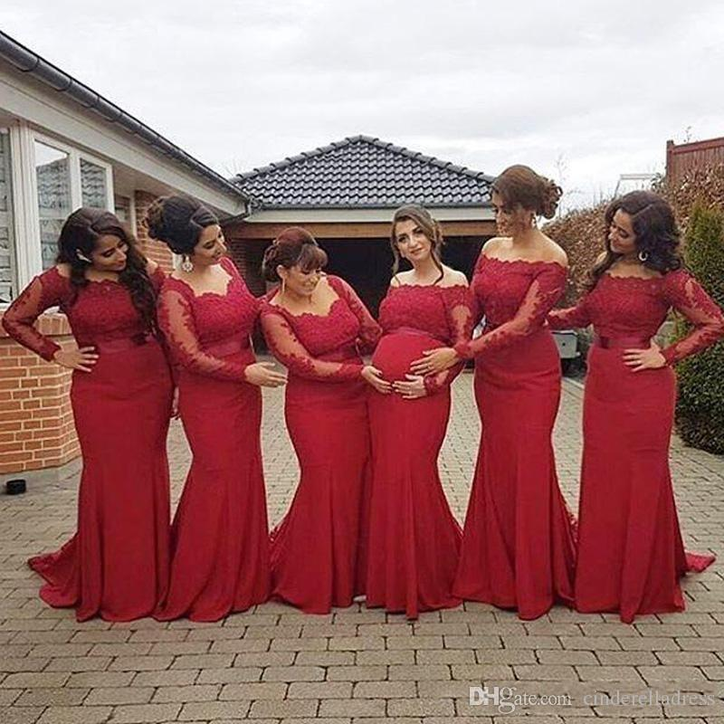 Off Shoulder Long Sleeves Mermaid Maid Of Honor Bridesmaid Dresses Sweetheart Pregnant Maternity Plus Size Prom Evening Gowns With Lace